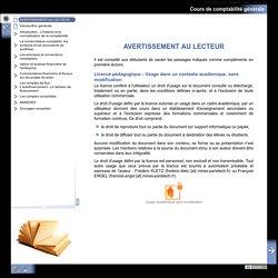 Cours de comptabilité générale - AVERTISSEMENT AU LECTEUR