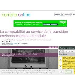 La comptabilité au service de la transition environnementale et sociale