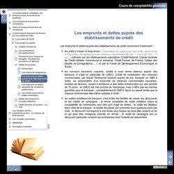 Cours de comptabilité générale - Les emprunts et dettes auprès des établissements de crédit