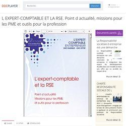 ⭐L EXPERT-COMPTABLE ET LA RSE. Point d actualité, missions pour les PME et outils pour la profession
