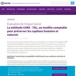 La méthode CARE - TDL, un modèle comptable pour préserver les capitaux humains et naturels