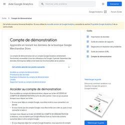 Compte de démonstration - Aide GoogleAnalytics