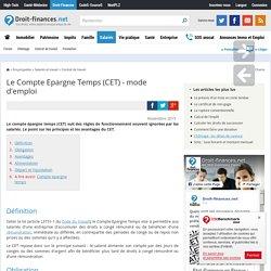 Le Compte Epargne Temps (CET) - mode d'emploi