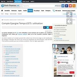 Compte Epargne Temps (CET) : utilisation