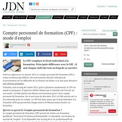 Compte personnel de formation (CPF): mode d'emploi