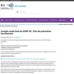 Compte-rendu final du GDRP 58 : Plan de prévention harcèlement.