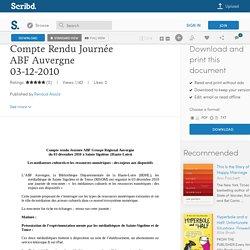 Compte Rendu Journée ABF Auvergne 03-12-2010