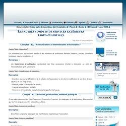 Les comptes de services extérieurs (sous-classe 62)