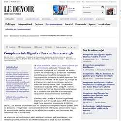 """BÉLISLE André et Brigitte Blais (AQLPA) (2012). """"Compteurs intelligents - Une confiance aveugle"""". Le Devoir, 31 mai 2012"""