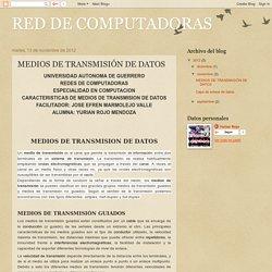 RED DE COMPUTADORAS: MEDIOS DE TRANSMISIÓN DE DATOS
