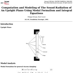 Philippe Dérogis, René Caussé: Computation and Modeling of The Sound Radiation of An Upright Piano Using Modal Formalism and Integral Equations (ICA 95, Trondheim (Norvège), 1995). <!