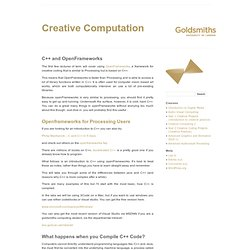 Creative Computation » C++ and OpenFrameworks