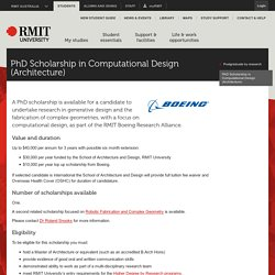 PhD Scholarship in Computational Design (Architecture)