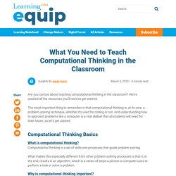 What You Need to Teach Computational Thinking in the Classroom