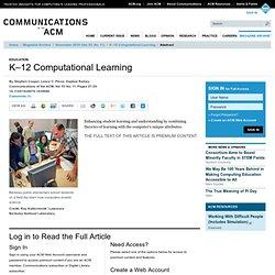 K–12 Computational Learning - ACM