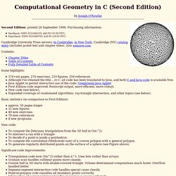 Computational Geometry in C (Second Edition)