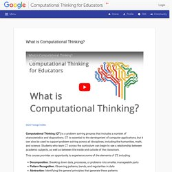 Computational Thinking for Educators - - Unit 1 - Introducing Computational Thinking