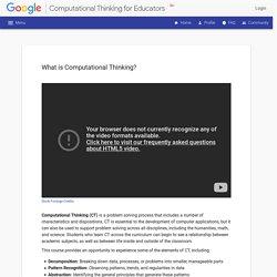Computational Thinking for Educators - - Unit 1 - Introducing Computational Thinking