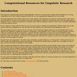 Computational Resources for Linguistic Research