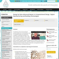 Design by Data Advanced Master in Computational Design, Digital Manufacturing and Building Technologies