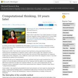 Computational thinking, 10 years later