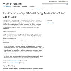 Joulemeter: VM, Server, Client, and Software Energy Usage - Micr