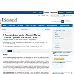 A Computational Model of Implicit Memory Captures Dyslexics' Perceptual Deficits