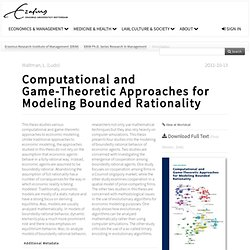 RePub: Computational and Game-Theoretic Approaches for Modeling Bounded Rationality