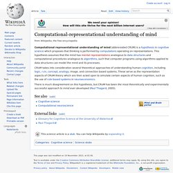 Computational-representational understanding of mind