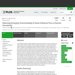 PLOS 27/07/07 Detecting Emerging Transmissibility of Avian Influenza Virus in Human Households