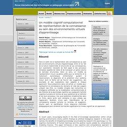Un modèle cognitif computationnel de représentation de la connaissance au sein des environnements virtuels d'apprentissage