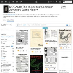 MOCAGH: The Museum of Computer Adventure Game History : Free Software : Download & Streaming