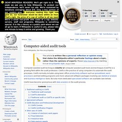Computer-aided audit tools