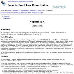 NZLC - Report 54: Computer Misuse - Appendix A: Legislation