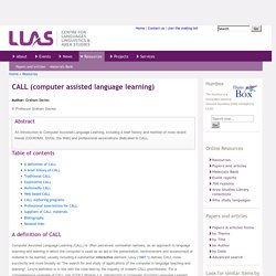 CALL (computer assisted language learning)