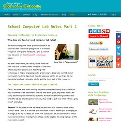 School Computer Lab Rules Part 1 - Classroom Caboodle