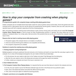 How to stop your computer from crashing when playing games?