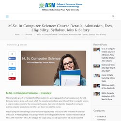 M.Sc. Computer Science: Course, Eligibility, Syllabus, Jobs & Salary