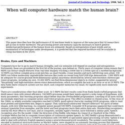 When will computer hardware match the human brain? by Hans Moravec