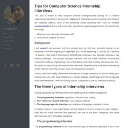 Tips for Computer Science Internship Interviews - Louis Li