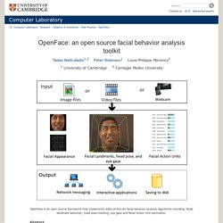 Computer Laboratory – Past projects: OpenFace