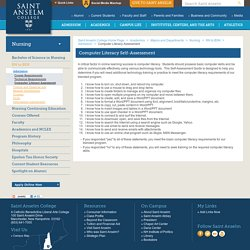 Computer Literacy Self-Assessment : Saint Anselm College