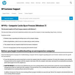 HP PCs - Computer Locks Up or Freezes (Windows 7)