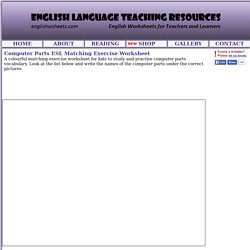 Computer Parts ESL Matching Exercise Worksheet
