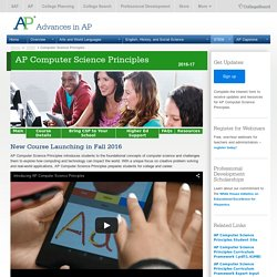 AP Computer Science Principles - A New AP Course - Advances in AP® - The College Board