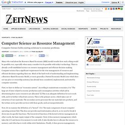 Computer Science as Resource Management