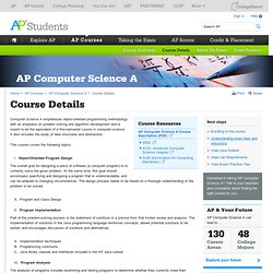 AP Computer Science A Course Details