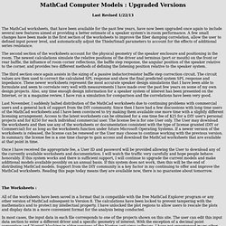 MathCad Computer Models : Upgraded Versions