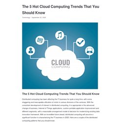 The 5 Hot Cloud Computing Trends That You Should Know - Appkineticsllc