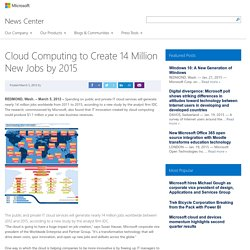 Cloud Computing to Create 14 Million New Jobs by 2015